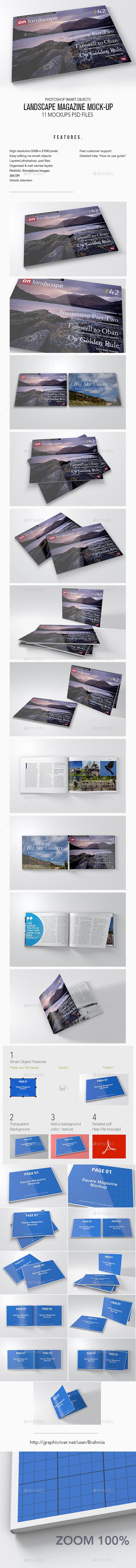 Landscape Magazine Mock up - Books Print