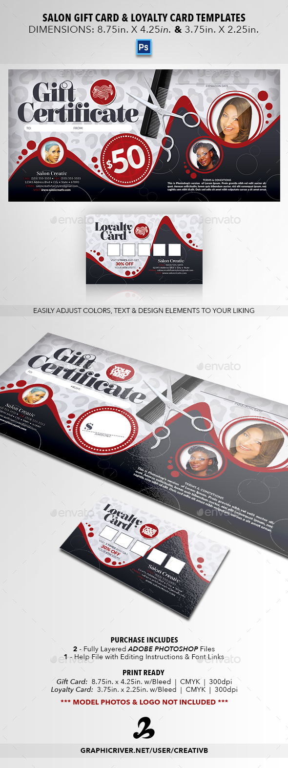 Salon Gift Card & Loyalty Card Templates - Cards & Invites Print Templates