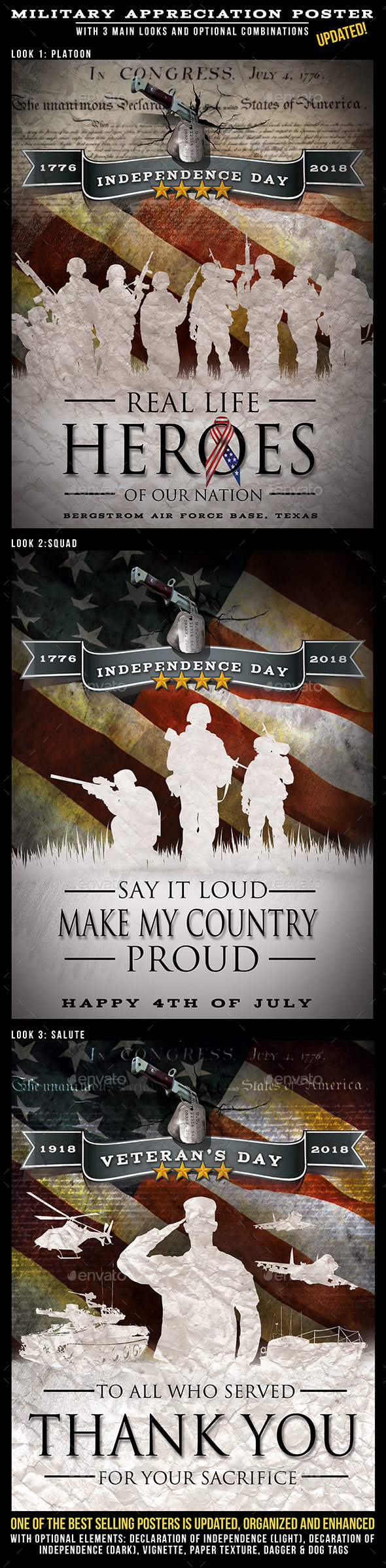 Independence Day Military Themed Design for Posters \u0026 Flyers