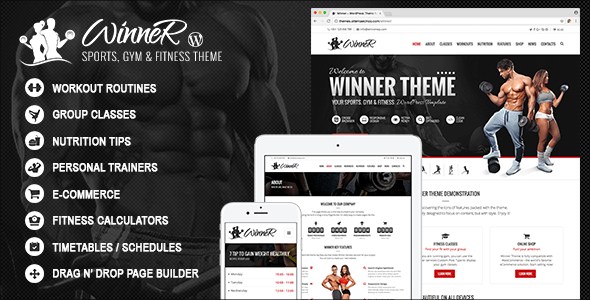 Winner – Sports, Gym & Fitness WordPress Theme