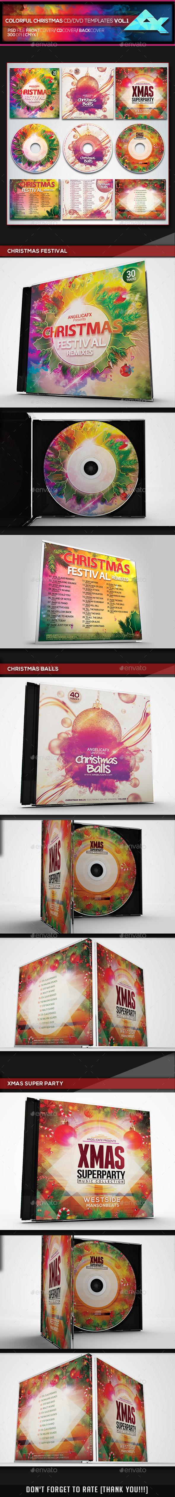 Colorful Christmas CD/DVD Album Covers Bundle Vol. 1 - CD & DVD Artwork Print Templates