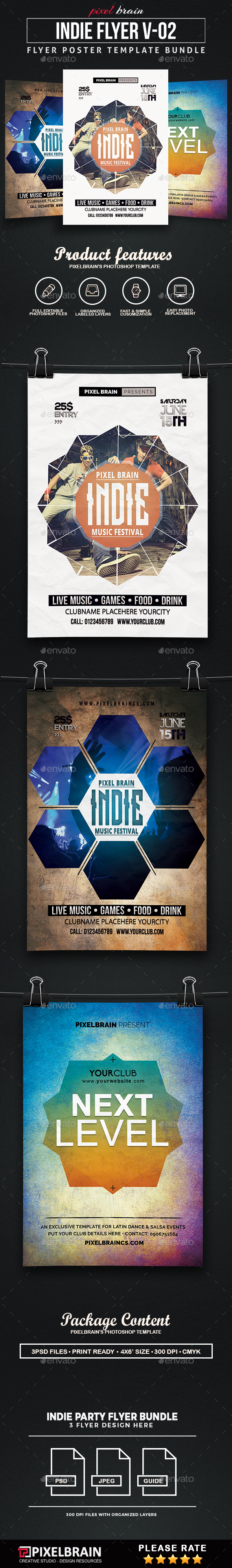 indie Party Flyer Template Bundle Vol - 02 - Clubs & Parties Events
