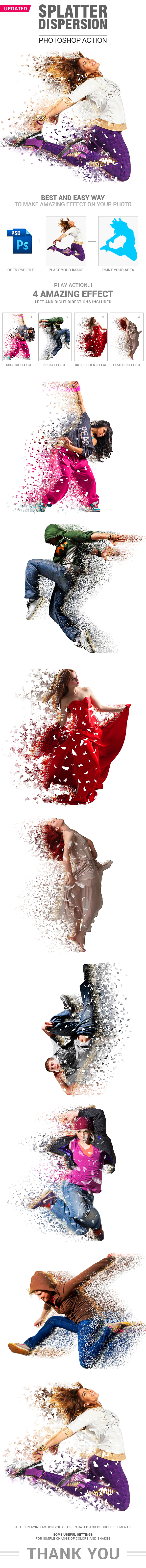 Splatter Dispersion 4 Effect in 1 Action - Photo Effects Actions