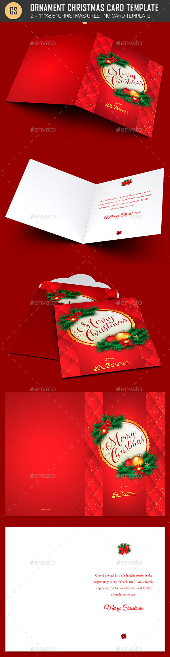 Red Ornament Christmas Card Template - Holiday Greeting Cards