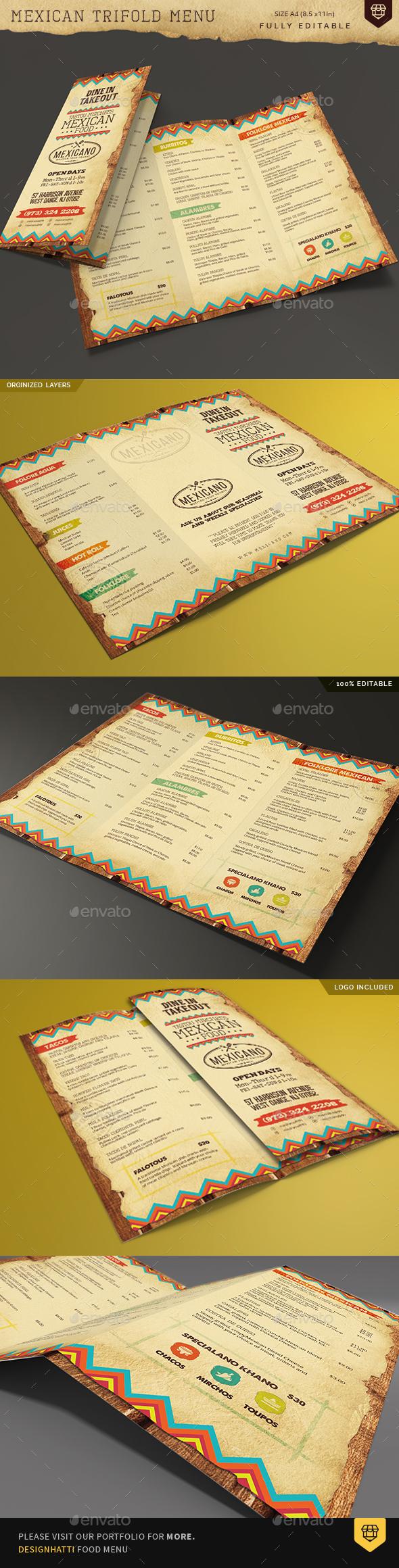 Trifold Mexican Food Menu - Food Menus Print Templates