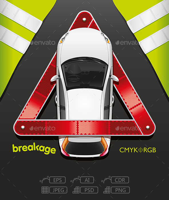 Car and Breakdown Triangle - Miscellaneous Conceptual