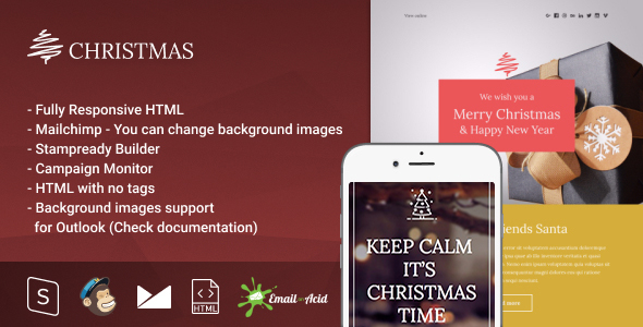 Christmas – Responsive Email with Mailchimp Editor & StampReady Builder
