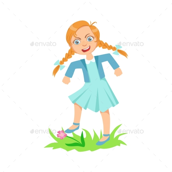 Girl Walking On Lawn Grass Breaking Flowers - Illustrations Graphics