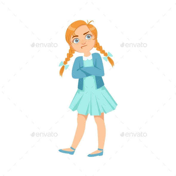 Stubborn Girl Teenage Bully Demonstrating - Illustrations Graphics