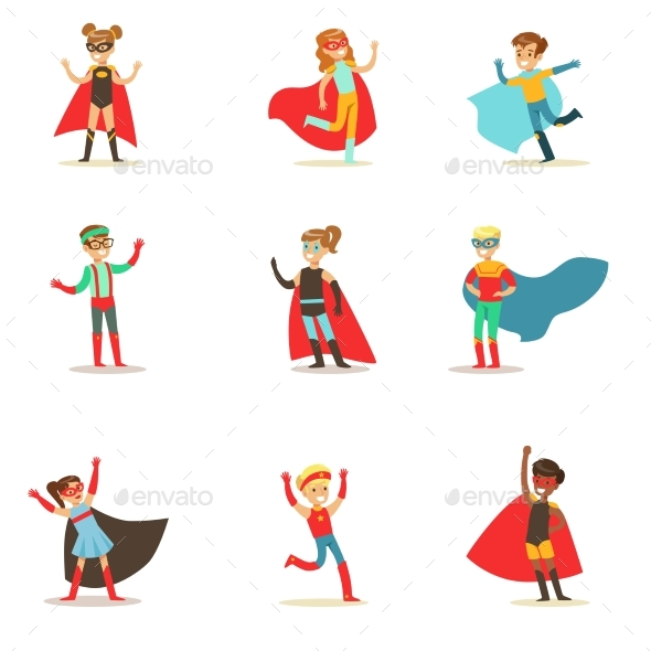 Children Pretending To Have Super Powers Dressed - Illustrations Graphics