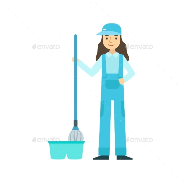 Girl With Mop Washing The Floor, Cleaning Service - Illustrations Graphics