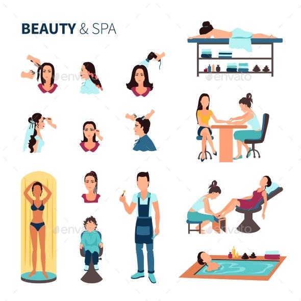 Beauty Salon Spa Set - People Characters
