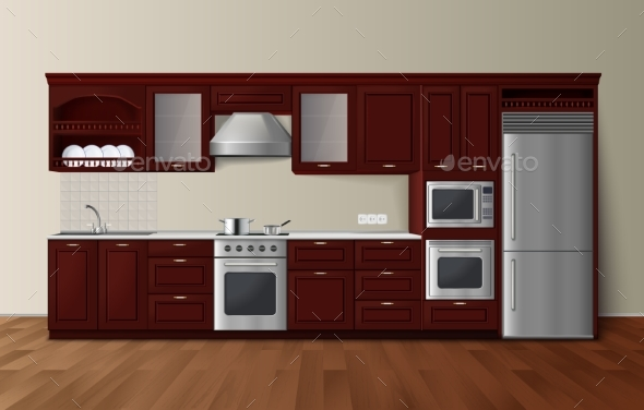 Luxury Kitchen Dark Realistic Interior Image - Man-made Objects Objects