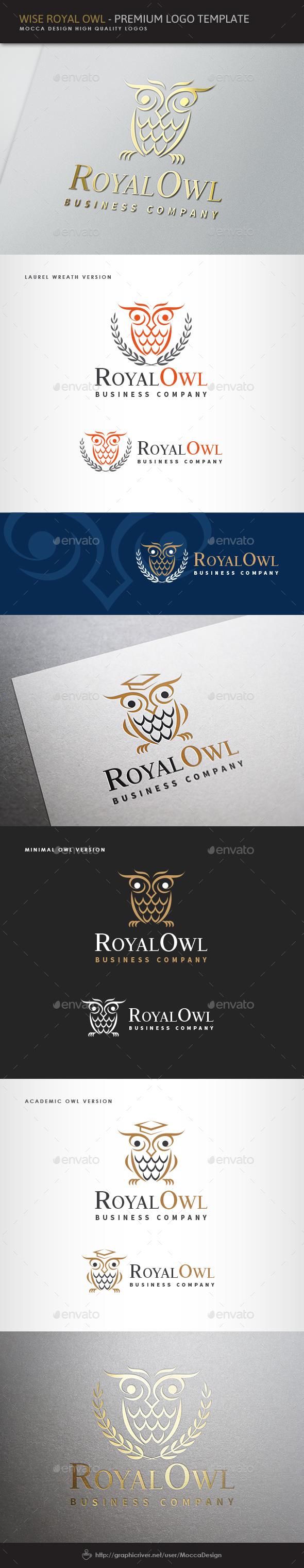 Wise Royal Owl Logo - Animals Logo Templates