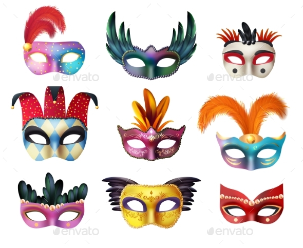 Masquerade Carnival Face Masks Realistic Set - Man-made Objects Objects