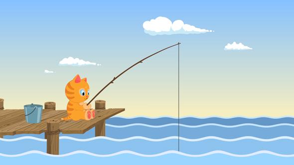 Fishing Cartoon Cat Logo By Orkhanthestargazer Videohive