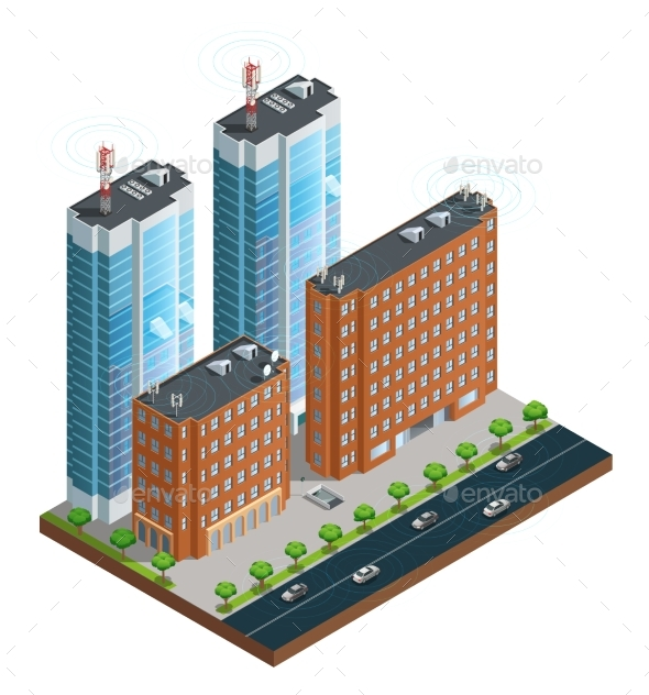 City Wireless Communication Isometric Composition - Buildings Objects