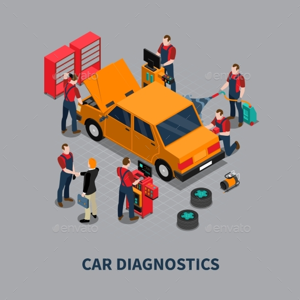 Car Diagnostic Auto Center Isometric Composition - Services Commercial / Shopping