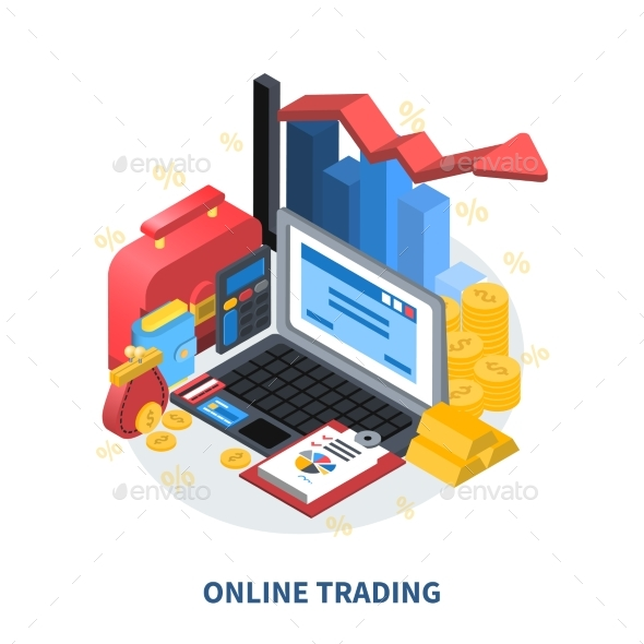 Online Trading Isometric Composition - Concepts Business