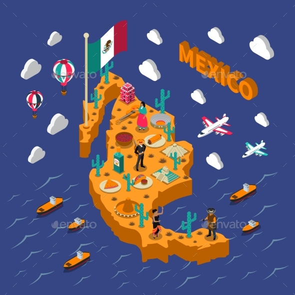 Mexican Touristic Attractions Symbols Isometric - Travel Conceptual