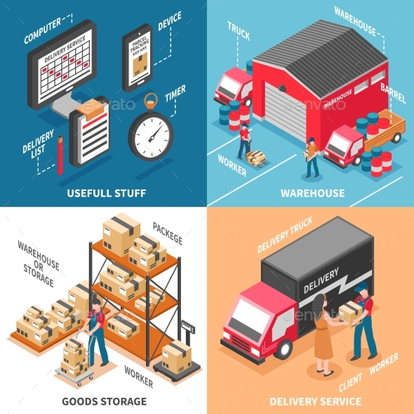 Logistics 2X2 Isometric Design Concept - Communications Technology