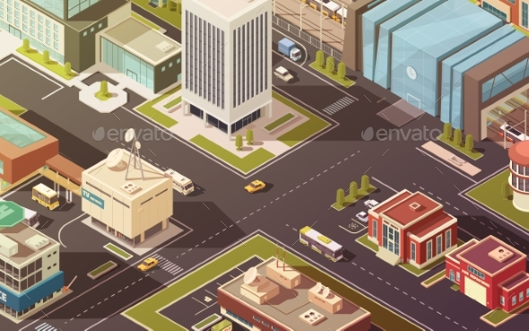 Government Buildings Isometric Illustration - Buildings Objects