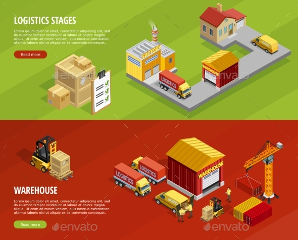 Logistics Isometric Horizontal Banners - Concepts Business