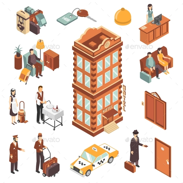 Hotel Isometric Icons Set - People Characters