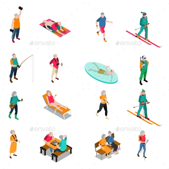 Elderly People Isometric Icons Set - Sports/Activity Conceptual