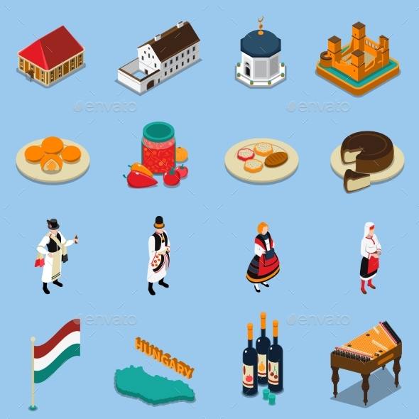 Hungary Isometric Touristic Icons Set - Travel Conceptual