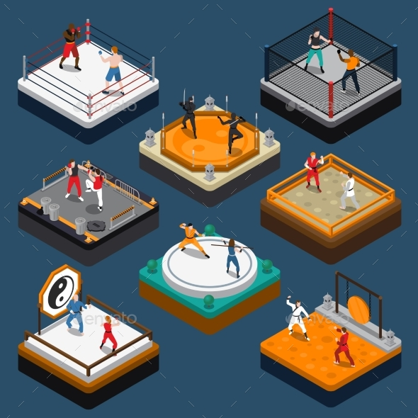 Martial Arts Isometric People Composition - Sports/Activity Conceptual