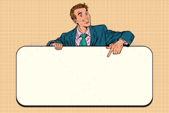 Smiling Businessmen Presenting Empty Board - People Characters