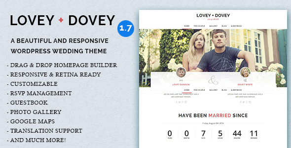 Lovey Dovey - Responsive WordPress Wedding Theme - Wedding WordPress