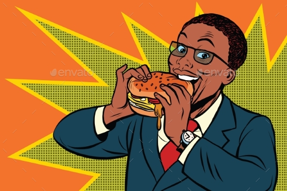 Pop Art Man Eating a Burger - People Characters