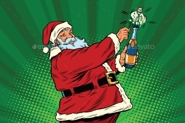 Santa Claus Opens a Bottle of Champagne - Christmas Seasons/Holidays
