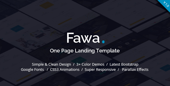 Fawa – One Page Landing Template