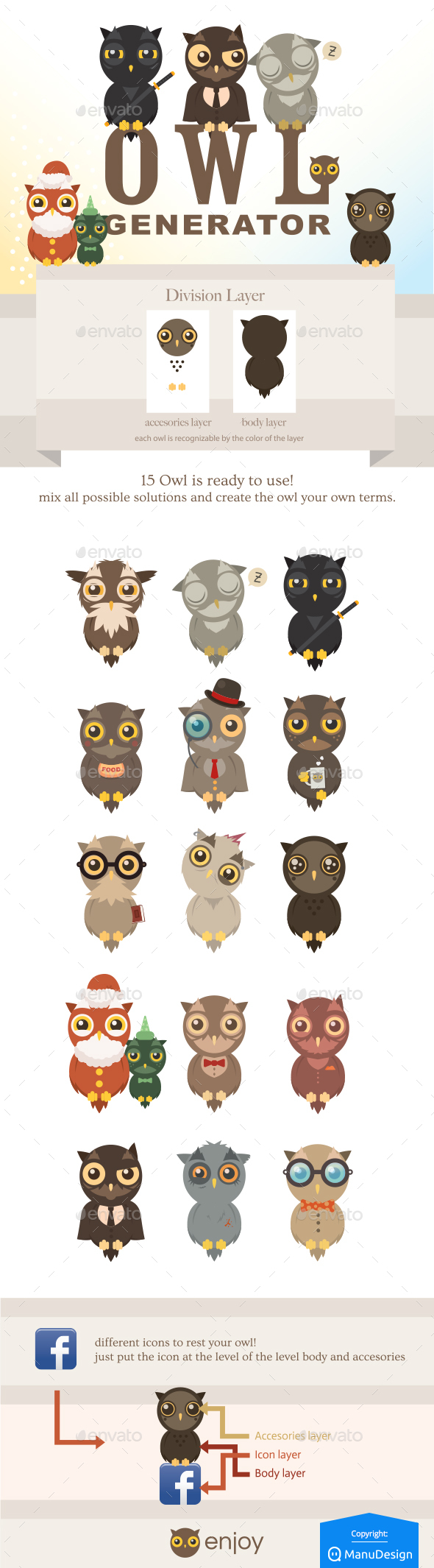 Owl Generation - Owl Generator - Animals Characters