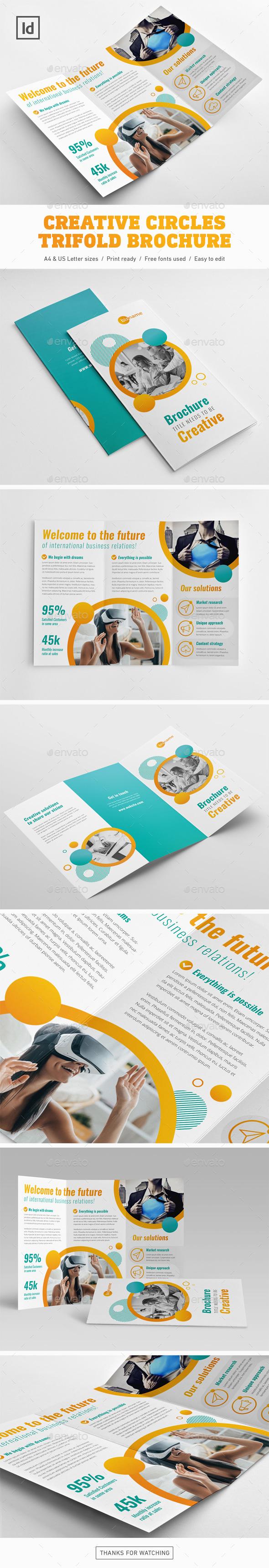 Creative Circles Trifold Brochure - Brochures Print Templates