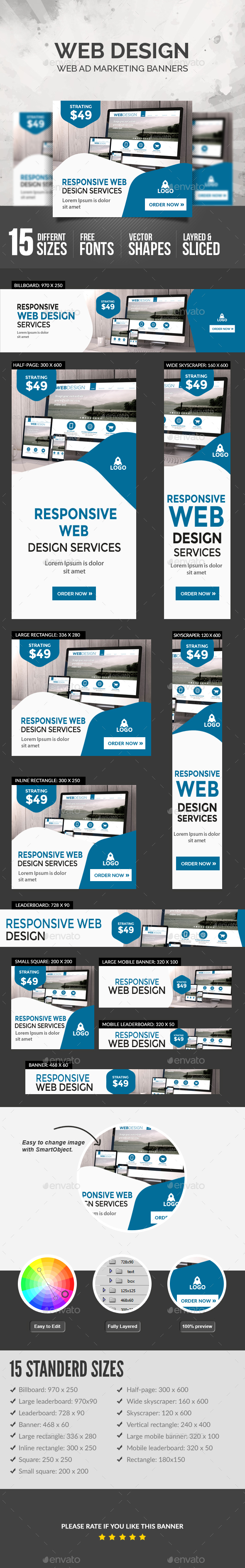 Web Design Banners - Banners & Ads Web Elements