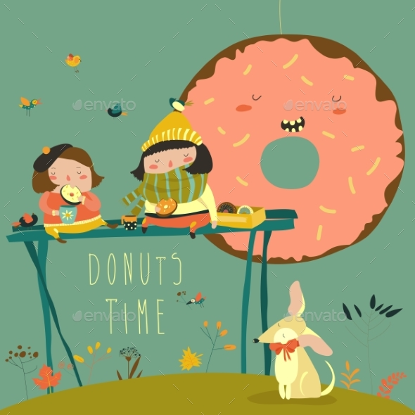 Girls Enjoying Tea Time with Donuts - People Characters