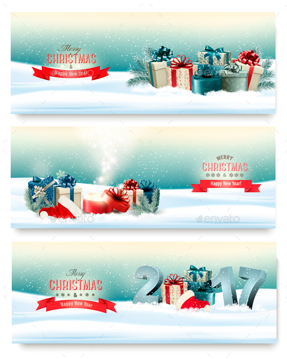 Three Christmas Banners with Presents - Christmas Seasons/Holidays