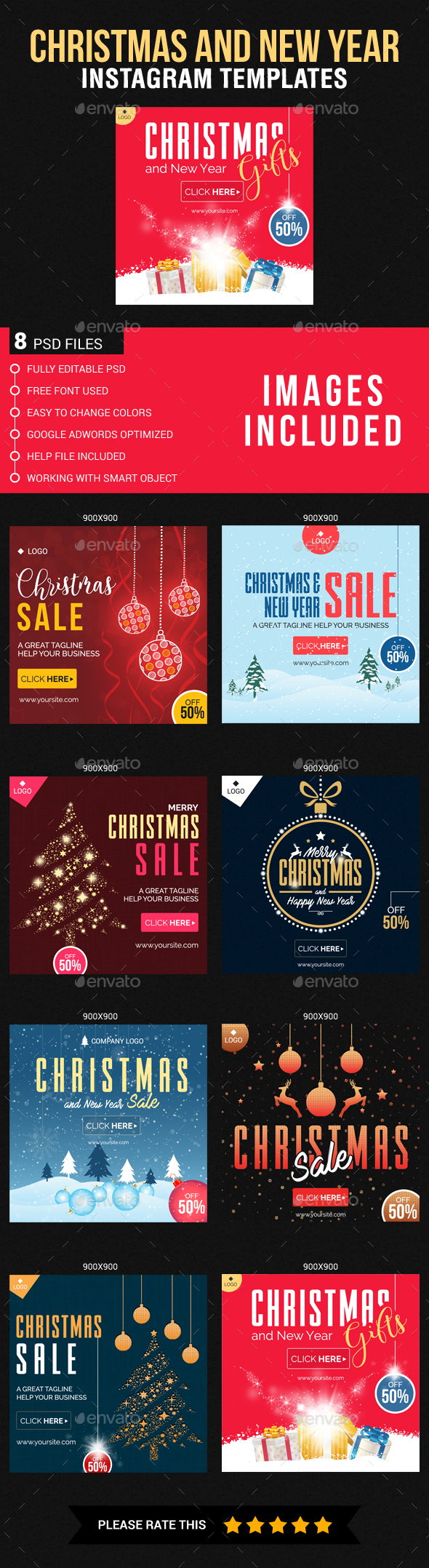 Christmas and New Year Instagram Templates - Banners & Ads Web Elements