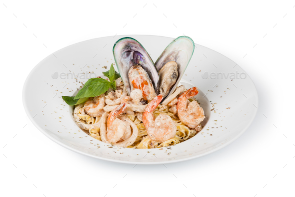 spaghetti with seafood - Stock Photo - Images