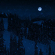 Passing Mountains In Snowfall At Night With Full Moon - VideoHive Item for Sale