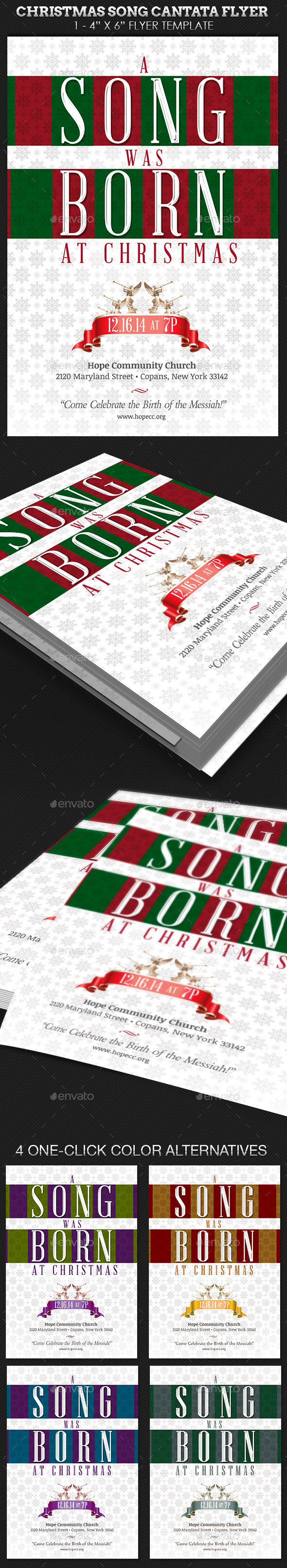 Christmas Song Cantata Flyer Template - Church Flyers