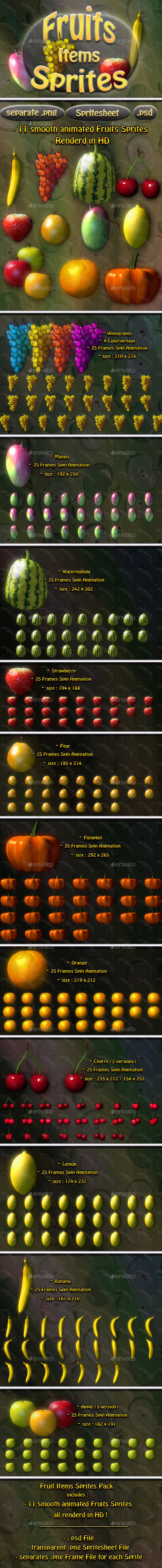 Fruit Item Sprites - Sprites Game Assets