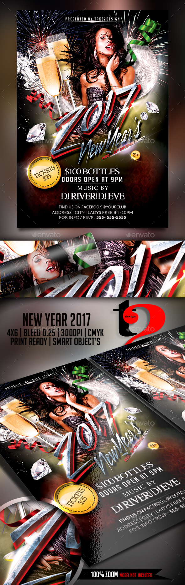 New Year's 2017 Flyer Template - Events Flyers