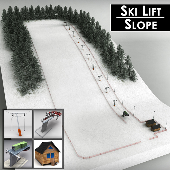 Ski slope lift mountain pack - 3DOcean Item for Sale