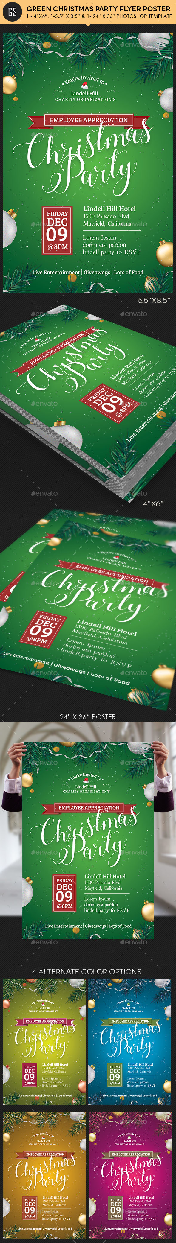 Green Christmas Party Flyer Poster Template - Holidays Events