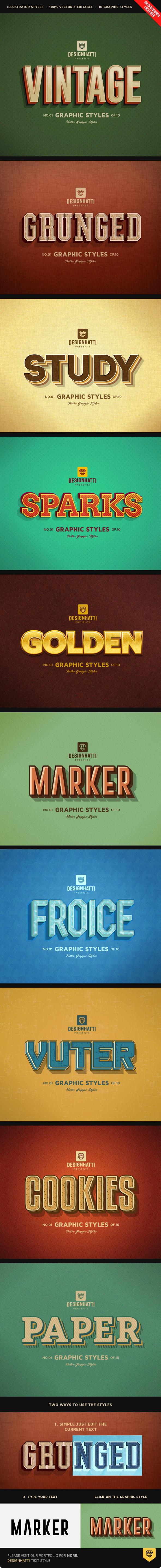 Retro Vintage Text Styles Vol.02 - Styles Illustrator